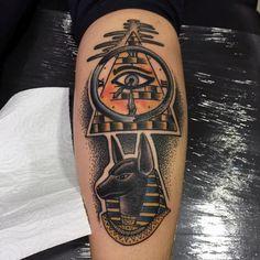 Old School Pyramid With Anubis Head Mens Leg Calf Tattoos