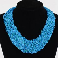 Elegant Handmade Blue Beads Pendant Choker Collar Necklace Jewelry Hot Sale