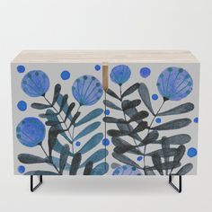 Flowers and foliage - indigo and blue Credenza by wackapacka Blue Coffee Tables, Mid-century Modern, Modern Design, Office Cabinets, Bar Carts, Tv Stands, Watercolor Flowers, Whimsical, Mid Century