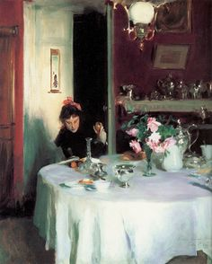 John Singer Sargent, The Breakfast Table, 1884. The figure is Sargent's younger sister, Violet (later Mrs. Francis Ormond). The picture was almost certainly painted at the home of his parents in Nice. It appears on an easel beside Sargent's Madame Gautreau in a photograph of Sargent in his studio of 1884, in the Smithsonian Institution, Washington DC.