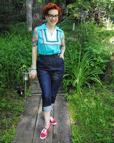 1950s style pedal pusher jeans