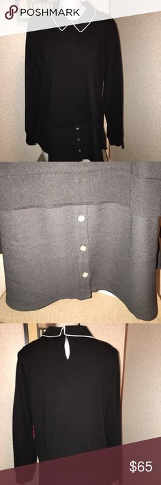 Vince Camuto XL Blk/Wht Trim L/S Sweater NWT Vince Camuto XL Black W/White Collar Piping L/S Sweater 30 1/2in-L,22 1/2in-Bust,25 1/2in-Sleeves NWT Vince Camuto Sweaters Crew & Scoop Necks