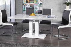 """Der moderne Esstisch """"ATLANTIQUE"""" steht für urbanes Design in Vollendung. Er überzeugt durch seine minimalistische Formsprache in einer Kombination aus edlen Materialien und herausragender Funktionalität. Die veredelte Oberfläche mit High Gloss Finish trifft auf schlichtes und minimalistisches Design. Die Tischplatte ruht fest auf einer stabilen Säulenkonstruktion, die eine ausreichende Beinfreiheit gewährleistet und Ihnen uneingeschränkte Stellmöglichkeiten eröffnet."""