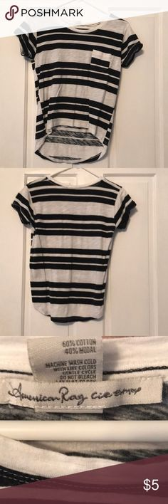 Short sleeve striped shirt with front pocket A lightly worn short sleeve striped t-shirt with a front pocket. It's got a small front pocket. American Rag Tops Tees - Short Sleeve
