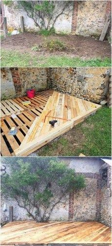 Best and Cheapest Wood Pallet Recycling Ideas This idea of wood pallet garden terrace design can sta Diy Pallet Couch, Diy Pallet Wall, Diy Pallet Furniture, Diy Pallet Projects, Pallet Ideas, Furniture Design, Furniture Ideas, Outdoor Furniture, Pallet House
