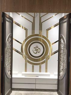 Temple Design Ideas unit With Mandir Temple Design Ideas Pooja Room Door Design, Ceiling Design Living Room, Bedroom False Ceiling Design, Bedroom Tv Unit Design, Temple Room, Royal Room, Temple Design For Home, Mandir Design, Puja Room