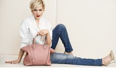 Michelle Williams with Pink Lockit Bag