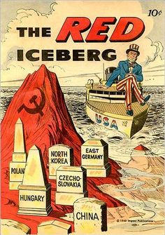 "This is American propaganda used during the Cold War and is an example of pinpointing the enemy. It pictures headstones of communist countries which classifies the whole group as ""the enemy"". The ship represents the United States which is steering towards the red (communist) ice burg, an obstacle in our countries path. This sends people the message that they should be against any communists because they are the problem. To help students understand public reactions to cold war"