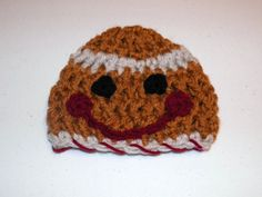 Gingerbread Boy Hat Cuddle Soft Newborn to 3 months by DesignsbyDecember, $15.00