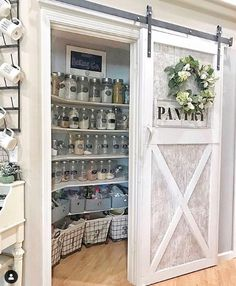 Sliding Barn Doors In the House - lots of sliding barn door ideas! Love these sliding pantry barn doors in this farmhouse kitchen! haus Sliding Barn Doors - DIY Sliding Barn Door Ideas For Your Home - Involvery Home, Farmhouse Kitchen, Rustic House, House Design, Home Remodeling, New Homes, Home Decor Kitchen, Pantry Design, Diy Sliding Barn Door