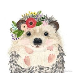 Browse unique items from zuhalkanar on Etsy, a global marketplace of handmade, vintage and creative goods. Watercolor Animals, Watercolor Art, Cute Drawings, Animal Drawings, Painting Inspiration, Art Inspo, Room Inspiration, Hedgehog Art, Hedgehog Drawing
