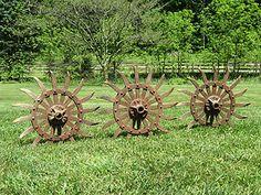 Vtg Industrial Cast Iron Metal Farm Wheel Steampunk Gear Yard Art Garden Decor | eBay