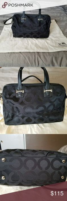 """TAYLOR OP ART SATCHELCOACH F25503 Has minor flaws on each corner shown in pics  Op art print sateen fabric with leather trim Inside zip, cell phone and multifunction pockets Zip-top closure, fabric lining Handles with 4 1/4"""" drop Longer strap for shoulder wear 12 1/2"""" (L) x 8 1/4"""" (H) x 5 1/2"""" (W) This is a signature product Coach Bags Satchels"""