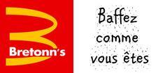 """""""Bretonn's"""". S'engouffrant sur le succès récent et inattendu des Ardennes à l'Open X, Bretonn's a développé des mini camps de formation pour promouvoir le Blood Bowl auprès des villages bretonniens. On ne compte plus les petites têtes brunes des donjons et des champs qui ont adopté le Blood Bowl sur les plages cet été, s'appropriant le désormais célèbre slogan de la marque : """"Baffez comme vous êtes"""". Détournement du logo Mc Donald's, chaine de restauration rapide américaine. Source…"""