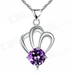 eQute PSIW22C6 Women's Elegant S925 Sterling Silver Crown Pendant Necklace - Silver + Purple