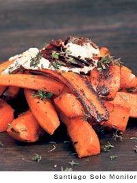 """""""burnt"""" carrots with goat cheese, arugula, parsley and crispy garlic chips"""