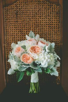 David austin roses, hydrangea, peonies and silver suede