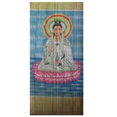 Kwan Yin is a 90 x beaded door curtain featuring Kwan Yin – goddess of compassion and unconditional love – floating on a pink lotus flower in a cross-leg meditative pose, surrounded by the sea.