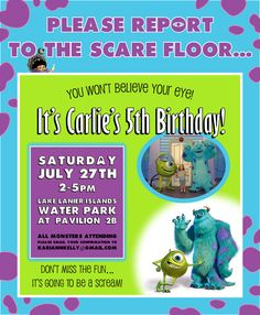 I'm in love with the idea of a Monster's Inc birthday party...it's sick but I'm thinking Baby Stafford's first bday already!!