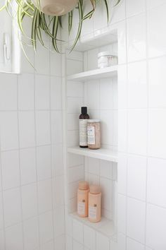 so excited to share the finished bathroom with you! if you forget what the room looked like before, here's the refresher. we tore everything out and started from scratch, but i still thought… Bathroom Niche, Shower Niche, Bathroom Renos, Budget Bathroom, Bathroom Shelves, Bathroom Renovations, Bathroom Storage, Bathroom Interior, Small Bathroom
