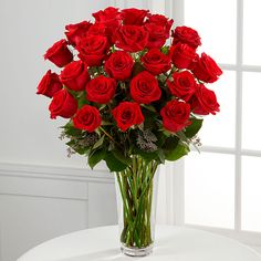 Nothing speaks of love so much as a bouquet of beautiful long stem red roses. Arranged with seeded eucalyptus in a classic glass vase, this bouquet is a gift to her heart from yours. BETTER rose bouquet is approximately x Beautiful Red Roses, Amazing Flowers, Beautiful Bouquets, Romantic Flowers, Fresh Flowers, Send Flowers, Send Roses, Dozen Red Roses, Vase Cristal