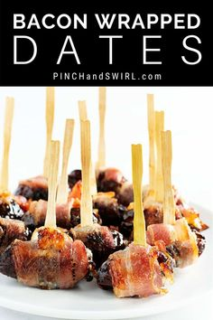 An easy crowd pleasing recipe for Bacon Wrapped Dates with pro tips so they are perfect every time! 6 different ways: stuffed with just cheese (goat cheese blue cheese or feta) and with cheese almonds or pecans! Single Serve Desserts, Desserts For A Crowd, Winter Desserts, Easy Make Ahead Appetizers, Appetizers For Party, Appetizer Recipes, Hot Fudge Cake, Hot Chocolate Fudge, Trifle Desserts