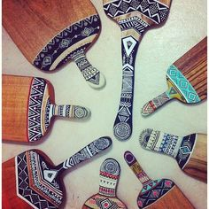 Ethnic pattern art on cheese boards