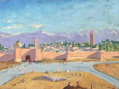 The Tower of Katoubia Mosque. This painting was a gift to President Roosevelt.