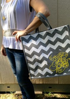 Our fabulous gray chevron farm house tote (that made a brief appearance in our September Fair Trade Friday boxes) is back! This super spacious bag is the perfect bag! It makes a great gift, too.It was created by the women of Freeset and your purchase gives back twice (to those who made it and those we are helping).