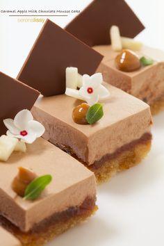apple valrhona jivara milk chocolate mousse cake;  valrhona jivara milk chocolate mousse, the almond paste vanilla bean butter cake and apple caramel jelly.
