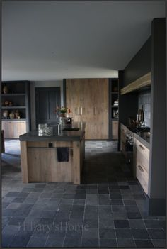 Like the wood island and the towel rail. Kitchen Inspirations, Dream Kitchen, Kitchen Remodel, Modern Kitchen, House Interior, Country Kitchen, Home Kitchens, Kitchen Styling, Kitchen Layout