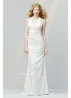 Fabric:Satin  Silhouette:Mermaid  Neckline:Halter  Sleeve Length:Sleeveless  Hemline Train:Sweep Train  Embellishment:Ruffles  Back Details:Zipper