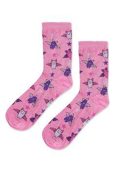 Womens Glitter Bat Ankle Socks