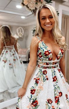 Handmade A-line White Prom Dress with Floral Embroidery, Long Prom Dress 2020 Prom Dresses Design Floral Prom Dresses, Hoco Dresses, Dance Dresses, Pretty Dresses, Homecoming Dresses, Beautiful Dresses, Dress Prom, Dirndl Dress, Backless Dresses