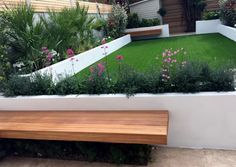more rendered raised beds - look great with purple flowers! also like the suspended benches.