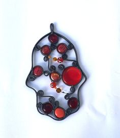 Hamsa Unique  Stained glass Warm Colors Judaica by Silvinadesigns