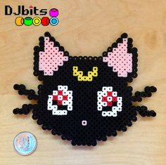Luna Cat Sailor Moon Perler Bead Magnet Art by DJbits on Etsy, $5.00