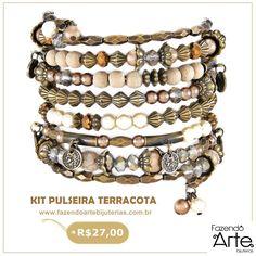 Kit Pulseira Terracota é novidade no site!!! Tem um Mix perfeito de cores e texturas peroladas e terrosas! Por ser de Mola é bem fácil de fazer!!! Maravilhosa não é?! Garanta o seu kit por apenas R$27,00!!! www.fazendoartebijuterias.com.br