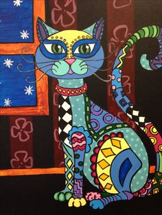 Folk Art Cat Painting by Gail Younts
