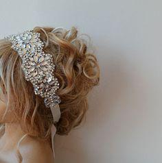 Wedding Crystal Rhinestone  Headband  Wedding  Veils by ADbrdal, $75.00
