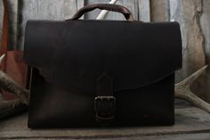 Leather Briefcase Messenger Bag Old by WillowCreekLeatherCo