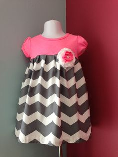 Pink top with grey chevron dress. Removable flower.Perfect for Easter, spring, summer., $28.00