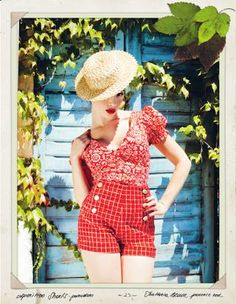 Red check sailor shorts, Lena Hoschek for spring