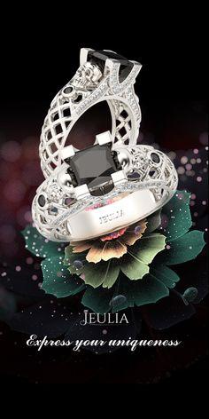 Jeulia Hollow Out Filigree Princess Cut Created Black Diamond Skull Ring #Jeulia