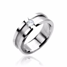 Artistic Love - Shining Stainless Steel Dual-Level Band with White Cubic Zirconia Solitaire Engagement or Couples Ring Wholesale Body Jewelry, Body Jewelry Piercing, Spoon Jewelry, Jewelry Rings, Titanium Jewelry, Cubic Zirconia Rings, Blue Rings, Women's Rings, Couple Rings