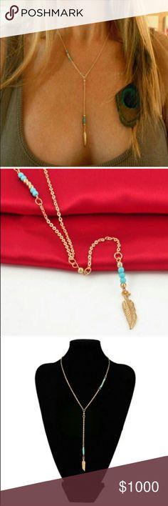 Boho Turquoise Leaf Necklace Gorgeous Boho Turquoise Leaf Necklace, Gold Toned. No trades please. Price Firm unless Bundled. Bundle and Save!! Jewelry Necklaces