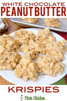 White Chocolate Peanut Butter Krispies White Chocolate Peanut Butter Krispies – only 5 ingredients! White chocolate, peanut butter, peanuts, rice kripie cereal and marshmallows. Great holiday and party treat! Everyone always asks for the recipe! Rice Crispy Treats, Krispie Treats, Köstliche Desserts, Delicious Desserts, Candy Recipes, Sweet Recipes, Peanut Butter White Chocolate, Chocolate Cake, Chocolate Rice Krispies