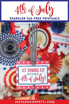 Party in the USA! This cute Sparkler Tag is perfect for gift giving and celebrating on the 4th of July! It's a free printable available in the Just Add Confetti Printable Library. The printable fits 9 tags on an 8.5×11 page. #4thofJuly #JulyFourth #PartyInTheUSA #sparklers #sparkertag #freeprintable #JustAddConfetti