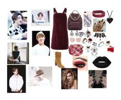"""Seventeen girlfriends"" by btsloveforlife ❤ liked on Polyvore featuring Topshop, IRO, Versace, Kenneth Jay Lane, So.Ya, Steve Madden, Aéropostale, Mudd, Polaroid and Michal Negrin"