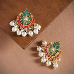 Zaveri Pearls Gold-Toned Green/Red Color Crescent Shaped Enameled Chandbalis With Pearls Dropping St Jewelry Cleaning Solution, Crescent Shape, Artificial Stone, Brunch Outfit, Temple Jewellery, Photo Jewelry, Boho Gypsy, Indian Jewelry, Necklace Set